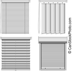 Blind window curtains mockup set, realistic style - Blind...