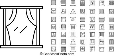 Blind window icon set, outline style - Blind window icon...