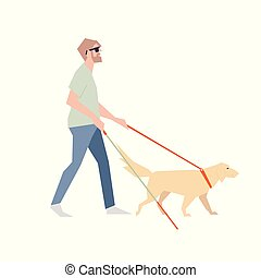Blind with a stick. The blind man walks beside the dog with a guide.
