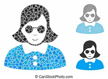 Blind woman Composition Icon of Humpy Parts - Blind woman ...