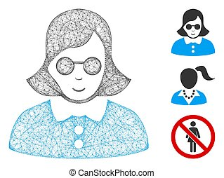 Blind Woman Polygonal Web Vector Mesh Illustration - Mesh ...
