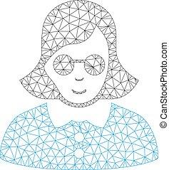 Blind Woman Vector Mesh 2D Model - Mesh blind woman model ...