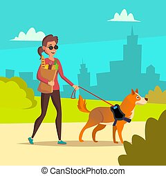 Blind Woman Vector. Young Person With Pet Dog Helping...
