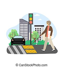 Blind woman with cane crossing street at the lights and crosswalk with tactile warning tiles, flat vector illustration.