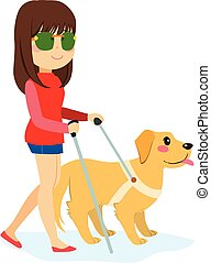 Blind Woman With Dog - Blind woman walking with guide dog...