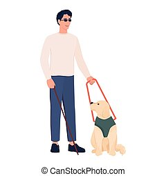 Blind young man with a guide dog. Disabled people living active life