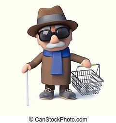 blind, zijn, shoppen , gaat, mand, man, spotprent, 3d
