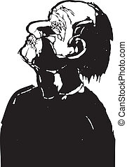 Man with eyes and mouth stitched shut in a woodcut style