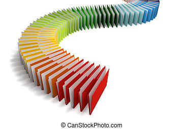 Blinders 2 - Row of binders of documents of various colors,...