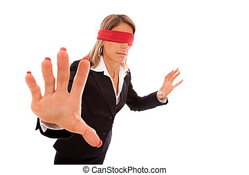 blindfold businesswoman trying to find something (isolated...