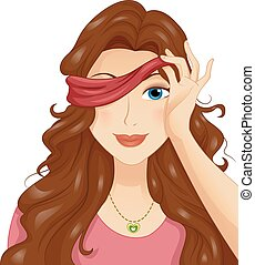 Blindfold Date Peek - Illustration of a Girl in a Blind Date...