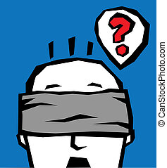 Blindfold head. The man is thinking with blindfold. Vector color illustration.