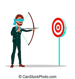 Blindfolded Businessman Aiming At Target From A Bow Vector Flat Cartoon Illustration