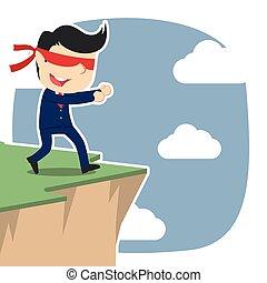 Blindfolded businessman walking to cliff edge