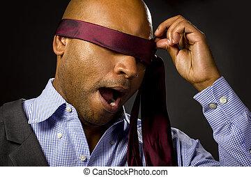 Blindfolded Businessman With Necktie