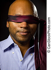 Blindfolded Businessman With Necktie