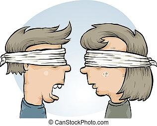 Blindfolded Couple - A cartoon couple, blindfolded together.
