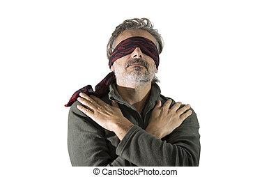 blindfolded man over white background