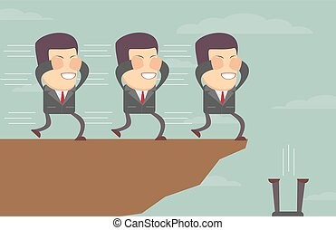 blindfolded, outro, homens negócios, cada, seguindo, penhasco