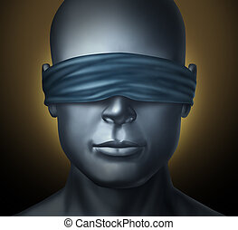 Blindfolded concept with a human head with a blindfold as a...