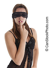 blindfolded woman in underwear on white