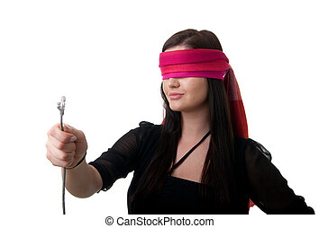 blindfolded woman network cable - a young blindfolded woman...