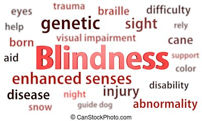 Blindness title surrounded by blurred words of context. Titles concept. 3d illustration.
