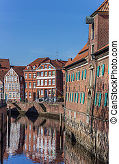 Blinds of the Schwedenspeicher building in the old harbor of...