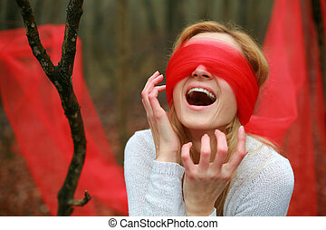Blinfold - Screaming  blindfolded woman in the woods