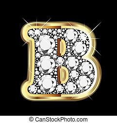 bling, ダイヤモンド, b, 金