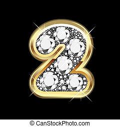 bling, 2, diamante, número, ouro