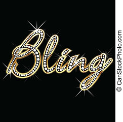 bling, bling, mot, vecteur