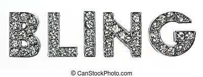 The word bling in dazzling lettering