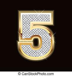 bling, cinco, número