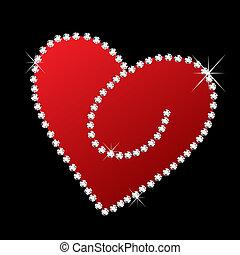 bling, corazón, diamantes