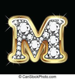 bling, diamant, m, or