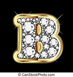 bling, diamante, b, oro