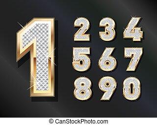 bling, numeri, dorato