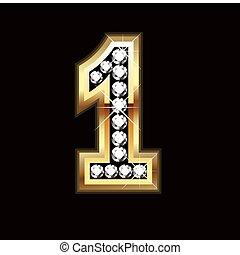 bling, numero, lettera, uno