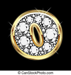 bling, oro, diamante, o