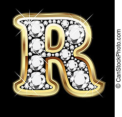 bling, r, diamante, ouro