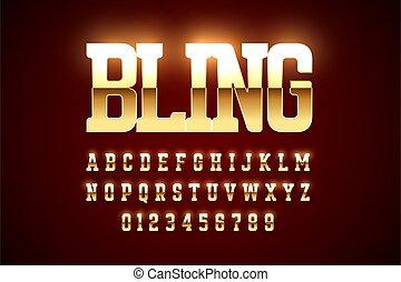 Bling style gold font design