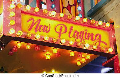 blinkande, underteckna, hos, karneval