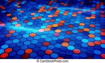 blinking blue orange hexagons loopable background