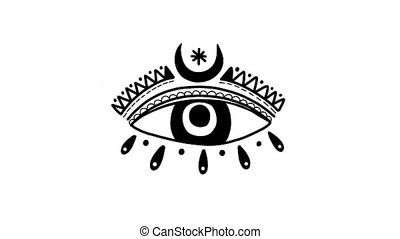 Blinking eye animation clip. Symbol mystic occult black and white color. Blink sign abstraction.