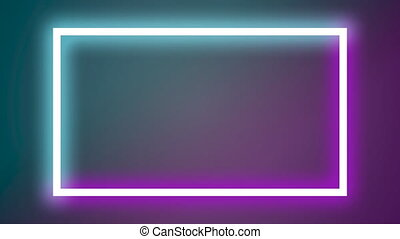 Blinking glow neon purple and blue banner. Entertaiment ...