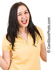 Blinking happy woman
