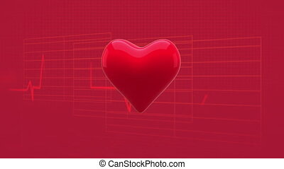 Blinking heart against soundwaves on red background