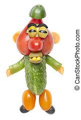 Blinking man made of vegetables