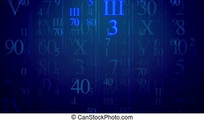 Blinking Roman figures and numbers figures move at camera on...